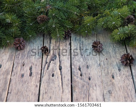 green spruce branches on a wooden rustic rustic ancient table for christmas #1561703461