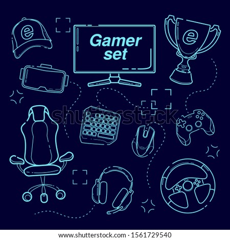 eSports set, Gaming gadgets, line set icon. gamer elements set chalkboard. Chalk drawing. Computer icon. Hand drawn doodle background. Virtual technology. Symbol collection. on deep blue background