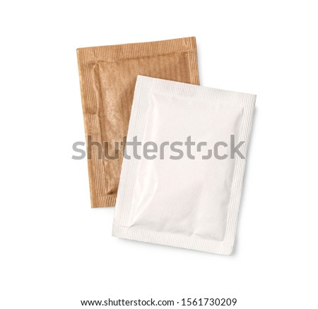 Small sugar packets isolated on white, with clipping path #1561730209
