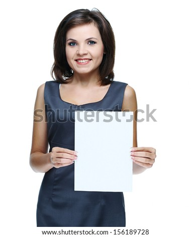 young beautiful girl in a gray business dress, holding a poster. Isolated on white background #156189728