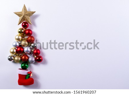 Christmas tree made of bauble decoration with copy space. Christmas or New year concept. #1561960207