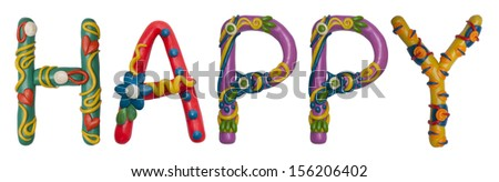 Colour plasticine letter isolated on a white background - happy #156206402
