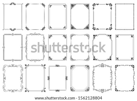 Decorative frames. Retro ornamental frame, vintage rectangle ornaments and ornate border. Decorative wedding frames, antique museum picture borders or deco devider. Isolated icons  set #1562128804