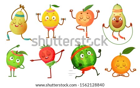 Fruit characters yoga. Fruits in fitness exercises poses, wellness food and funny sport fruit. Tropical fruit workout pose, healthy gym sport character. Isolated cartoon  icons illustration set #1562128840