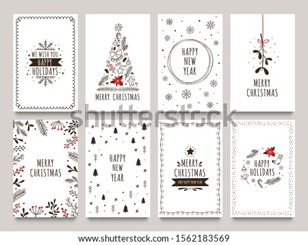 Hand drawn winter holidays cards. Merry Christmas card with floral ornaments, New Year tree and snowflakes frame. 2020 Xmas greeting or invitation inspire quote cards. Isolated vector icons set #1562183569