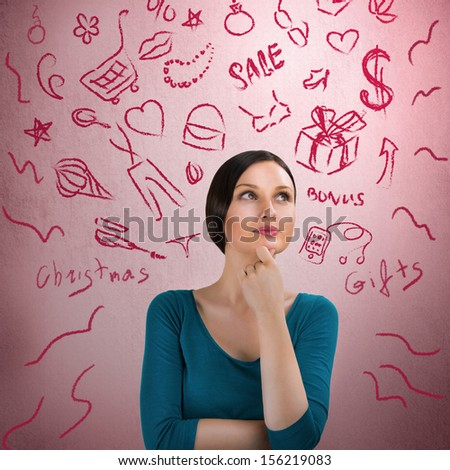 Beautiful young woman daydreaming over pink retro grunge background with finger on chin. Thinking about Christmas gifts