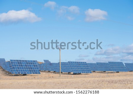 solar panels with tracker field for generating sustainable energy with an electric mast in the foreground for transporting the generated electricity, extremadura, spain #1562276188