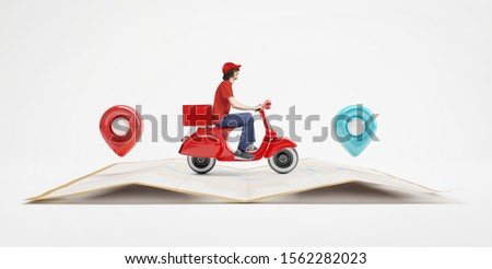 Delivery man with red uniform driving scooter on paper map with red and blue location pin. #1562282023