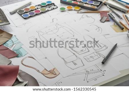 Designer stylish sketch Drawn design template pattern made leather clutch bag handbag purse Woman female Fashionable Fashion Luxury Elegant accessory.                                #1562330545