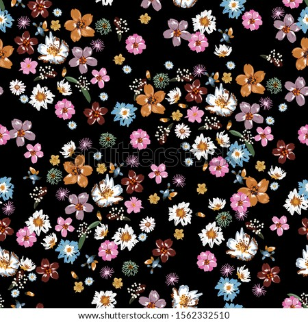 Colorful and stylish of liberty small booming floral and meadow flowers seamless pattern in vector,Dessign for fashion,fabric,wallpaper,wrapping and all prints on black background. Royalty-Free Stock Photo #1562332510