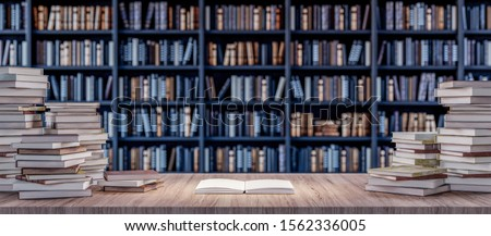 Open Book on Bookshelf in the library with old books 3d render 3d illustration