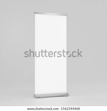 X-banner Roll up banner stand with clipping path. mock up vertical Banner Design Signboard Advertising Brochure Flyer Template X-banner Layout Background. 3d illustration #1562344468