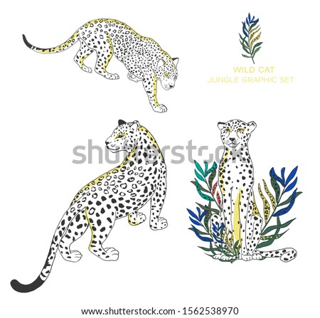Beautiful set of cheetah and tropical leaves with watercolor illustration on isolated background. African animal, colorful clip art. Jungle set and pink flowers