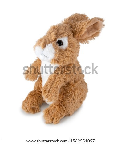 Cute rabbit doll isolated on white background with shadow. Playful brown bunny sitting on white underlay. Hare plush stuffed puppet toy for children. Plaything for kids. #1562551057