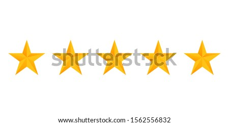 Stars rating icon set. Gold star icon set isolated on a white background. Five stars customer product rating review flat icon for apps and websites. #1562556832