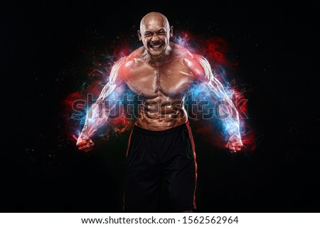 Bodybuilding competitions on the scene. Handsome and fit man sportsmen bodybuilder physique and athlete. Men's fitness and sport motivation. Individual sports recreation. #1562562964