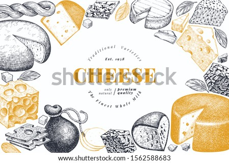 Cheese design template. Hand drawn vector dairy illustration. Engraved style different cheese kinds banner. Retro food background. #1562588683