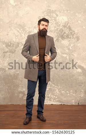 trendy man with beard. Modern life. Male fashion model. Mature businessman. Casual style. Brutal bearded hipster in denim wear. autumn style of trendy man. trendy man in fall coat. Ambitious man. #1562630125