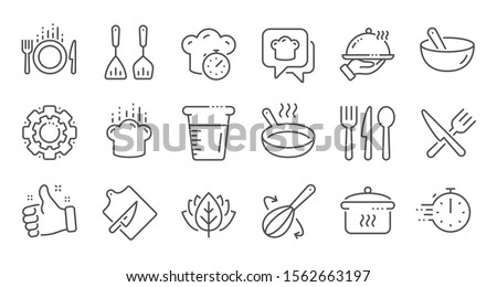 Cooking line icons. Boiling time, Frying pan and Kitchen utensils. Fork, spoon and knife line icons. Recipe book, chef hat and cutting board. Linear set. Quality line set. Vector #1562663197