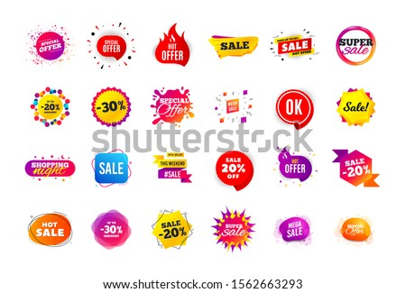 Sale banner badge. Special offer discount tags. Coupon shape templates design. Cyber monday sale discounts. Black friday shopping icons. Best ultimate offer badge. Super discount icons. Vector banners #1562663293