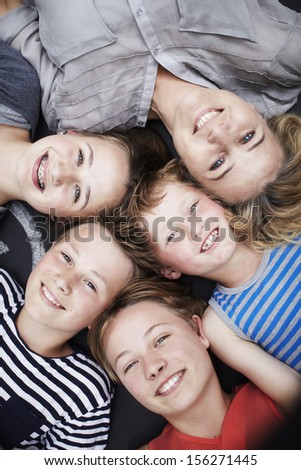 Happy family portrait of mother and four siblings #156271445