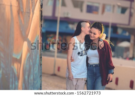 Curitiba / Paraná / Brazil - June 08, 2019: LGBTQ + in happy moments, fun with love. #1562721973