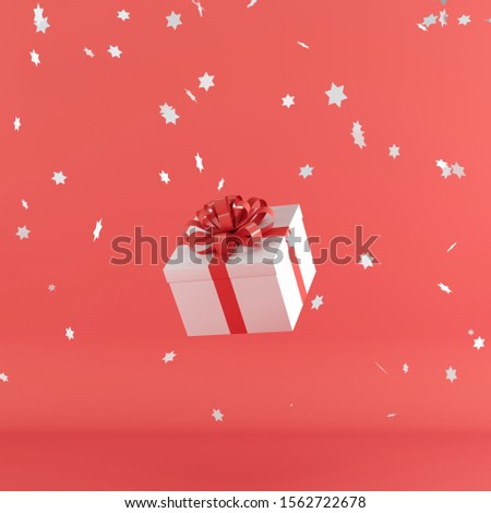 White gift box with red color ribbon on red color background. minimal christmas newyear concept. 3D Render. #1562722678