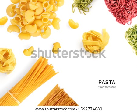 Creative layout made of pasta on the white background. Flat lay. Food concept. Macro concept. #1562774089