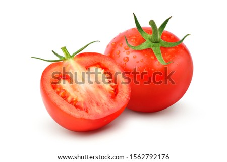Fresh juicy red Tomato with cut in half and water drops isolated on white background. #1562792176
