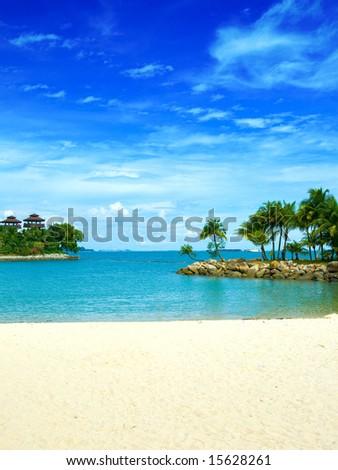 Beautiful secluded lagoon beach in the tropics #15628261