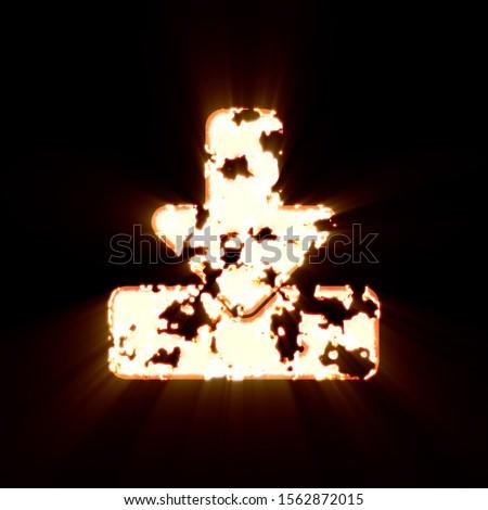 Symbol download burned on a black background. Bright shine