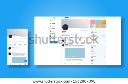 Social media network inspired by twitter. Ui Ux web responsive template of tweeter account. Mobile social media app and desctop. User profile, followers, and tweet mock up.  Vector illustration #1562887090
