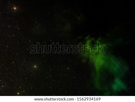 Star field in space and a nebulae. 3D rendering #1562934169