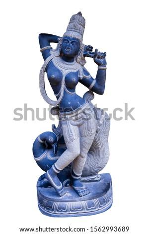white background indian stone statue (beautiful women & Peacock statue) #1562993689
