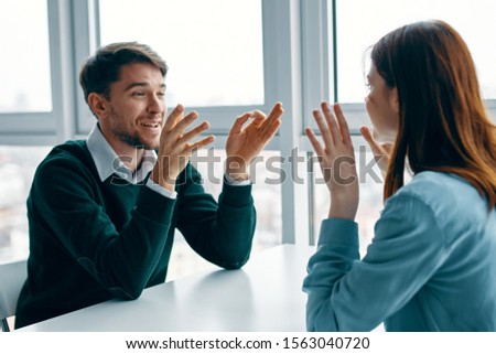 man and woman communication friendship joy #1563040720