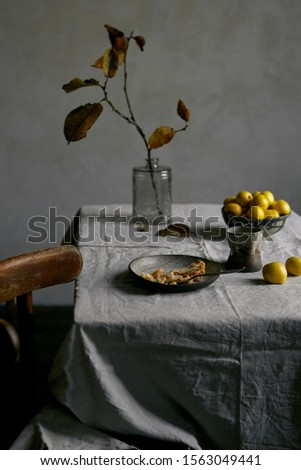 still life with apple, branch and apple pie, romantic atmosphere, autumn #1563049441