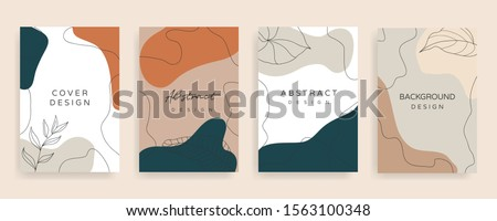 Social media stories and post creative Vector set. Background template with copy space for text and images design by abstract colored shapes,  line arts , Tropical leaves  warm color of the earth tone #1563100348