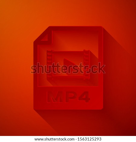 Paper cut MP4 file document. Download mp4 button icon isolated on red background. MP4 file symbol. Paper art style. Vector Illustration