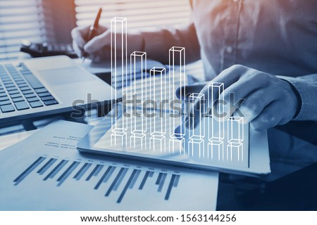 business analytics, financial charts dashboard, profit and revenue of company, BI or KPI concept #1563144256