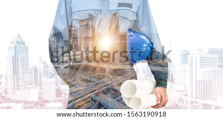 Future building construction engineering project concept with double exposure graphic design. Building engineer, architect people or construction worker working with modern civil equipment technology. #1563190918