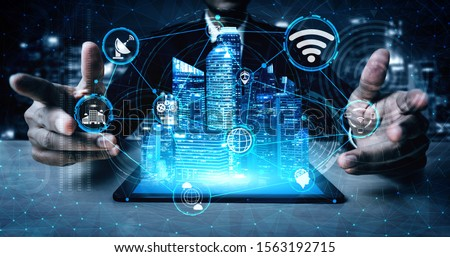 5G Communication Technology Wireless Internet Network for Global Business Growth, Social Media, Digital E-commerce and Entertainment Home Use. Royalty-Free Stock Photo #1563192715