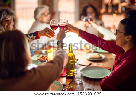 Beautiful group of women smiling happy and confident. Eating roasted turkey and toasting with cup of wine celebrating christmas at home #1563201025