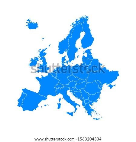blue europe map on a white background in flat #1563204334