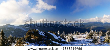 Großer Arber, Germany: Panorama from the largest mountain in the Bavarian forest - the large Arber (1456 m, 4775 ft) on the Hohenbogen mountain and the fog covered Furth im Wald #1563214966