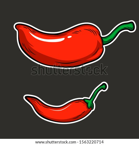 set of red chili isolated for decoration Royalty-Free Stock Photo #1563220714