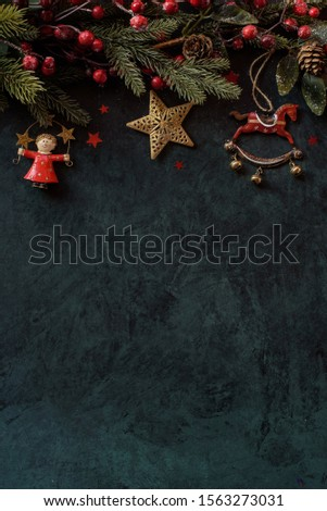 Christmas background with a festive decor and place for text