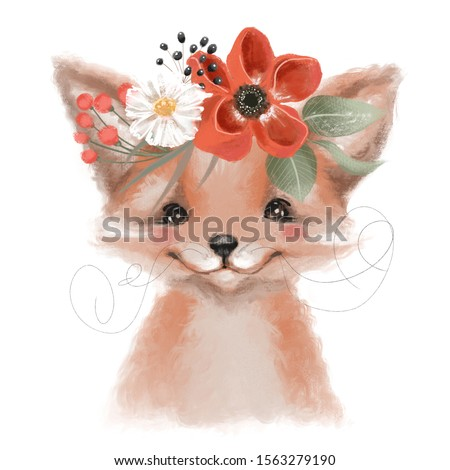 Cute hand drawn fox in floral wreath, flowers bouquet, woodland watercolor animal portrait