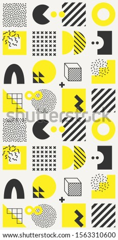 Vector minimalistic seamless pattern with bright bold geometric shapes. Hipster Memphis style. Trendy graphic elements for your unique design. #1563310600