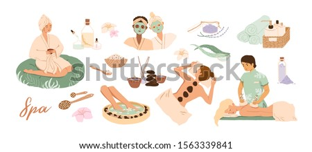 Spa center service flat vector illustrations set. Beauty salon visitors and workers cartoon characters. Wellness center procedures and equipment pack. Hot stone massage, foot bath and facial masks. #1563339841