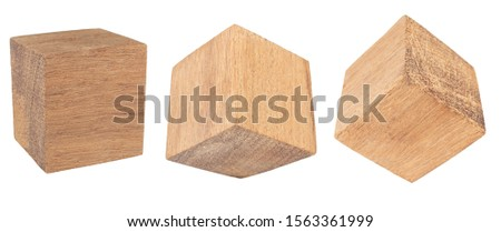 Wood cube Isolated on white background, Brown cubic wood, with Clipping path.